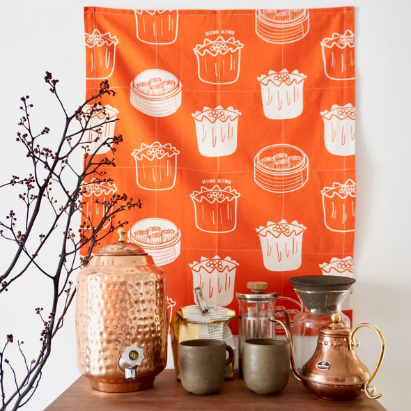 Cotton Linen Dim Sum Tea Towel - Orange