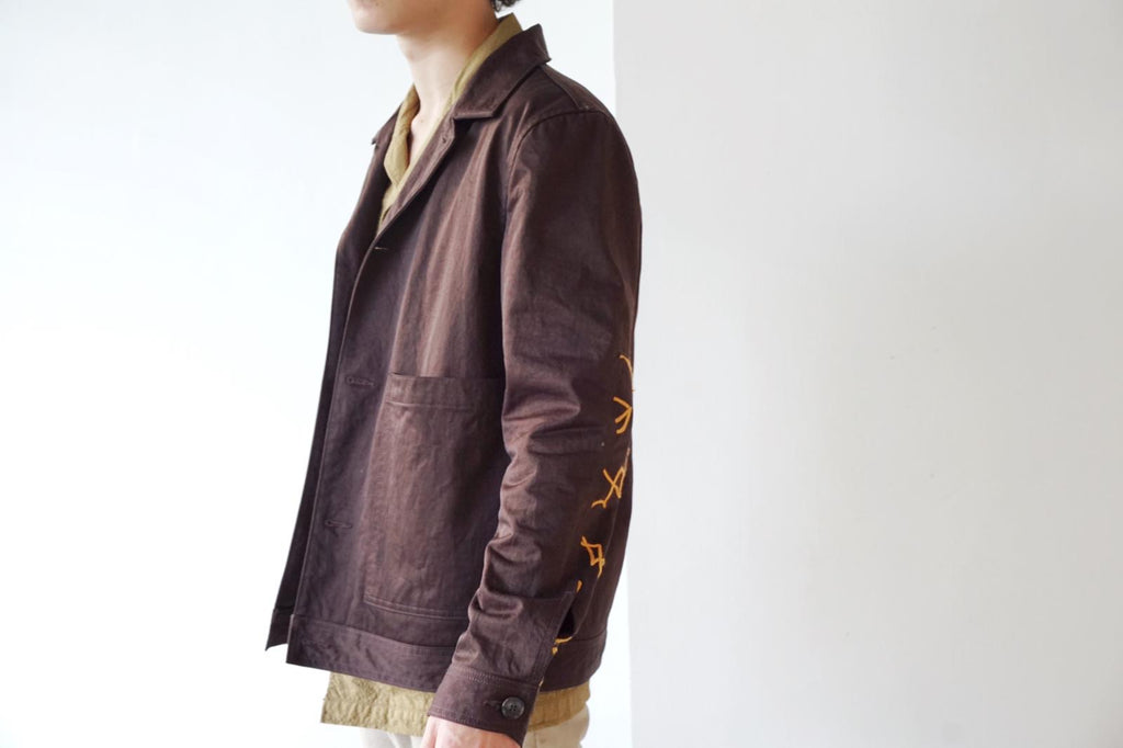 [Incense Harbour] Brown Workwear Jacket with Embroidery