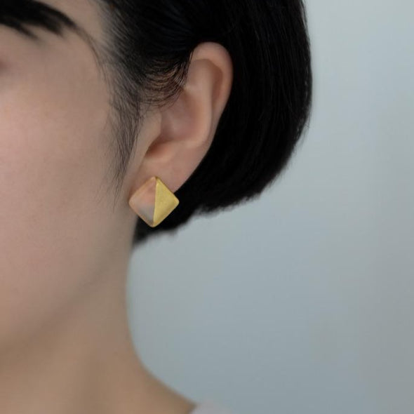 [NEW] HARIO Handmade Jewelry- Half Golden Square Circle Glasses Earrings (10K gold) [Pre-order - receive in early February]