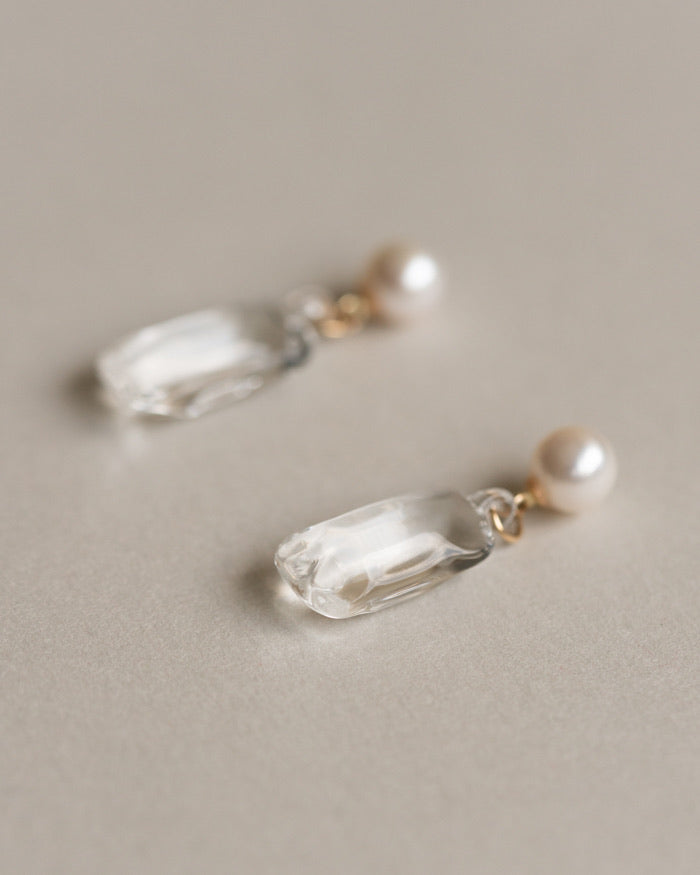 [NEW] HARIO Handmade Jewelry- Pearl with Glasses Earrings (10K gold)