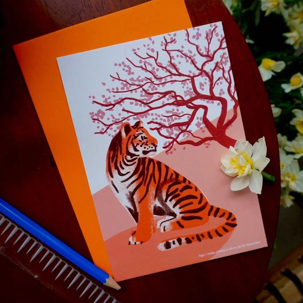 Glue Twelve Zodiac Animals Indigo Printed Card - Tiger