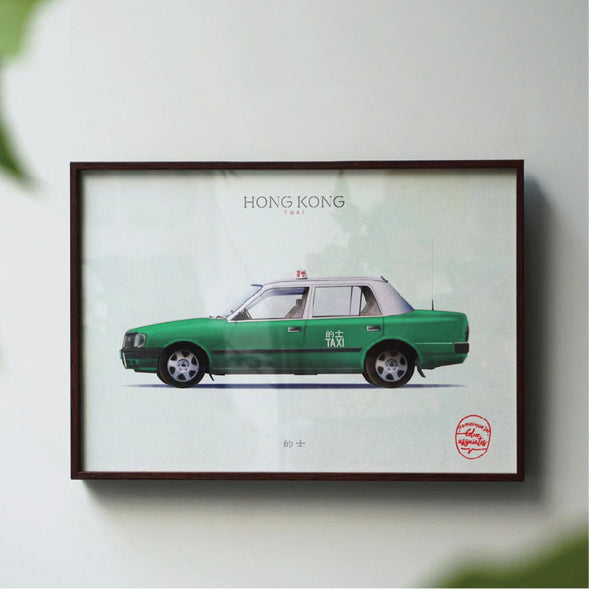 Hong Kong Transportation Picture with Frame - Green Taxi