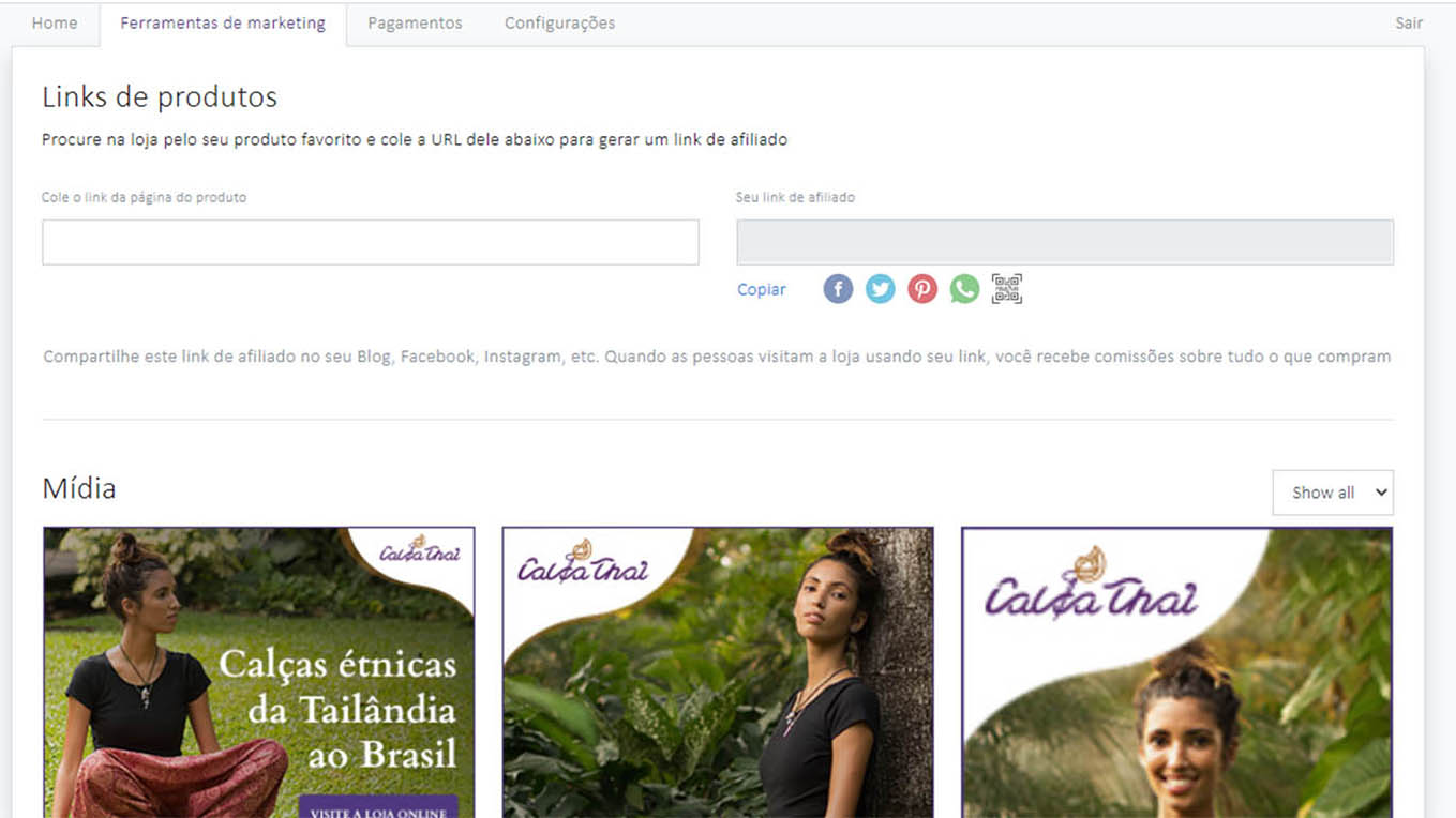 ferramentas de marketing do portal de afiliado da Calça Thai