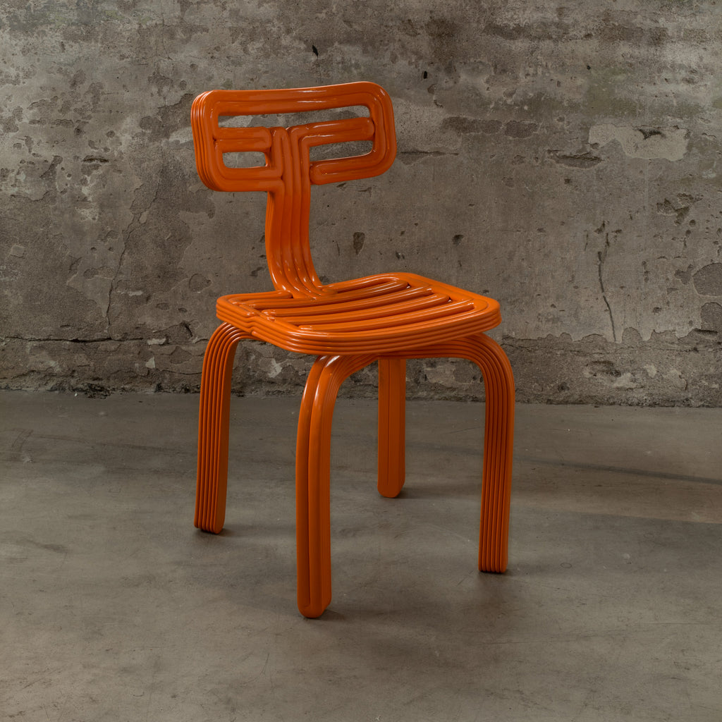 chubby chair orange dirk vander Kooij recycled plastic robot print