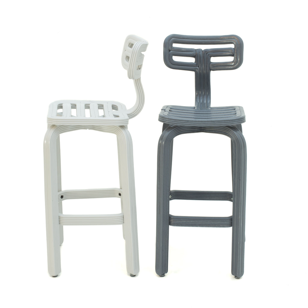 chubby barstool natural white and ash grey dirk vander kooij robot printed recycled plastic