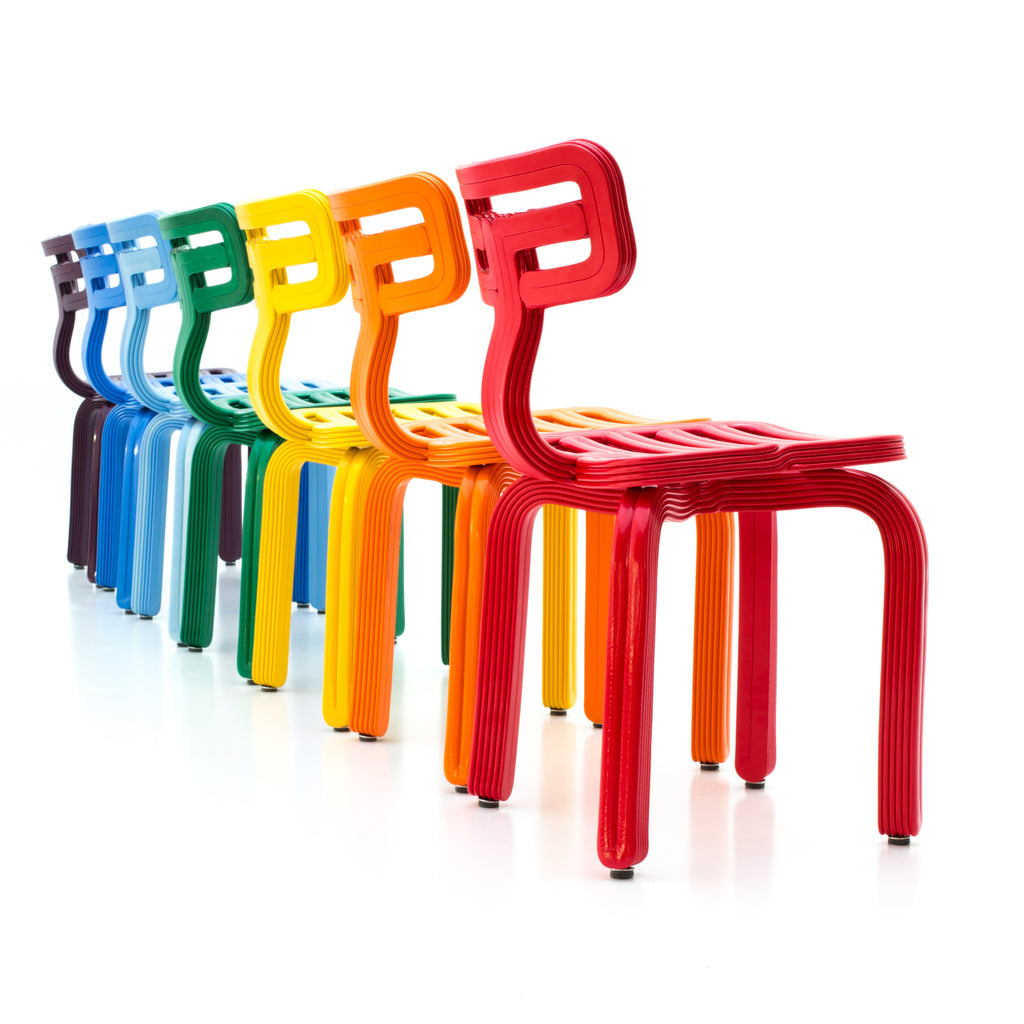 chubby chair colours dirk vander Kooij recycled plastic robot print