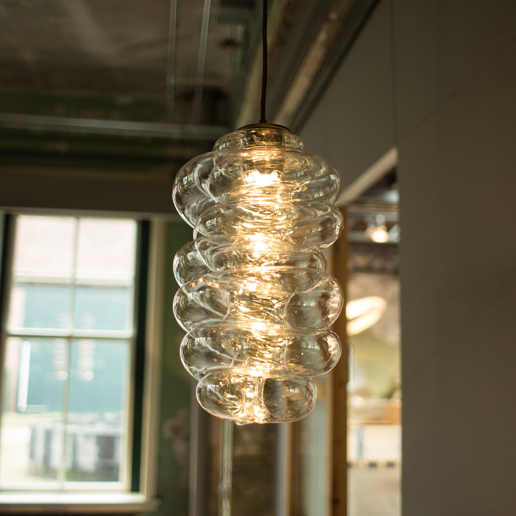 Bloown light small and medium made out of recycled plastic with a 3D printer robot by dirk vander kooij