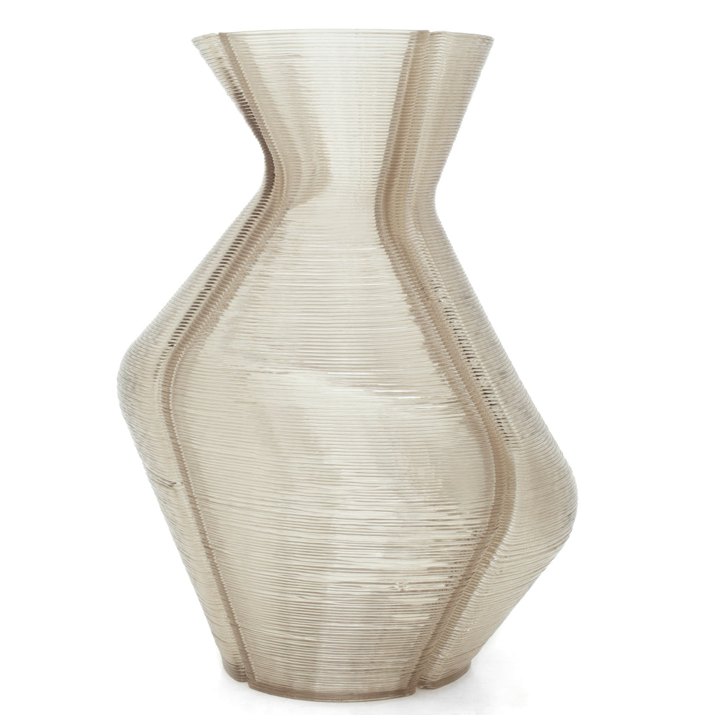 Changing Vase extra large made out of recycled material with a 3D print robot by dirk vander kooij