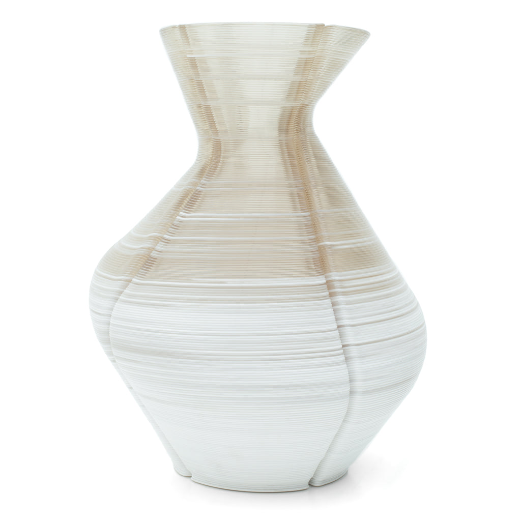 Changing Vase xtralarge mixed with white made out of recycled material with a 3D print robot by dirk vander kooij