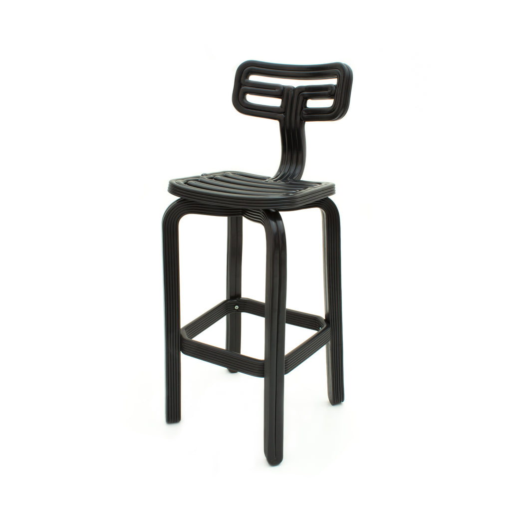 Chubby barstool black made out of recycled material with a 3D printer by dirk vander kooij