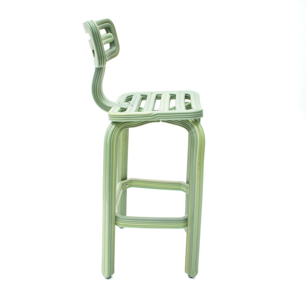 Chubby barstool light green made out of recycled material with a 3D printer by dirk vander kooij