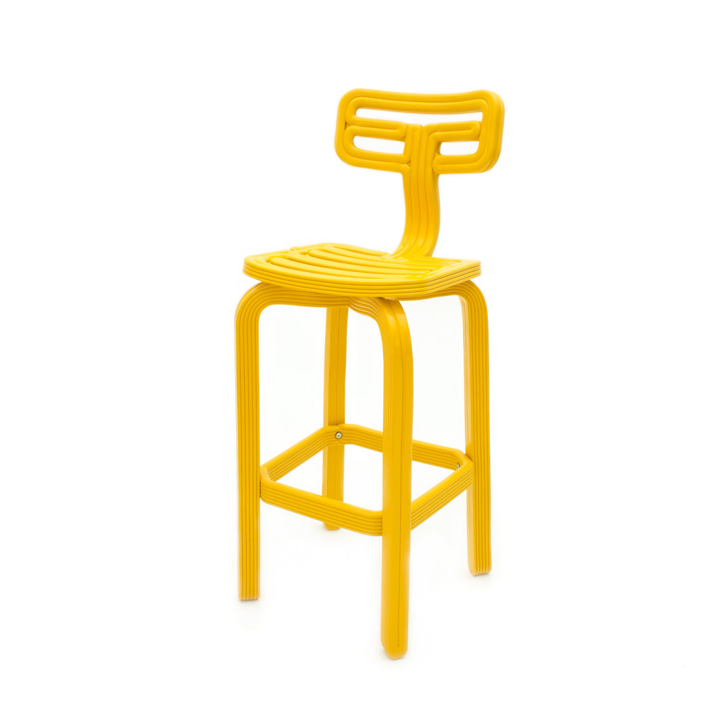 Chubby barstool yellow made out of recycled material with a 3D printer by dirk vander kooij