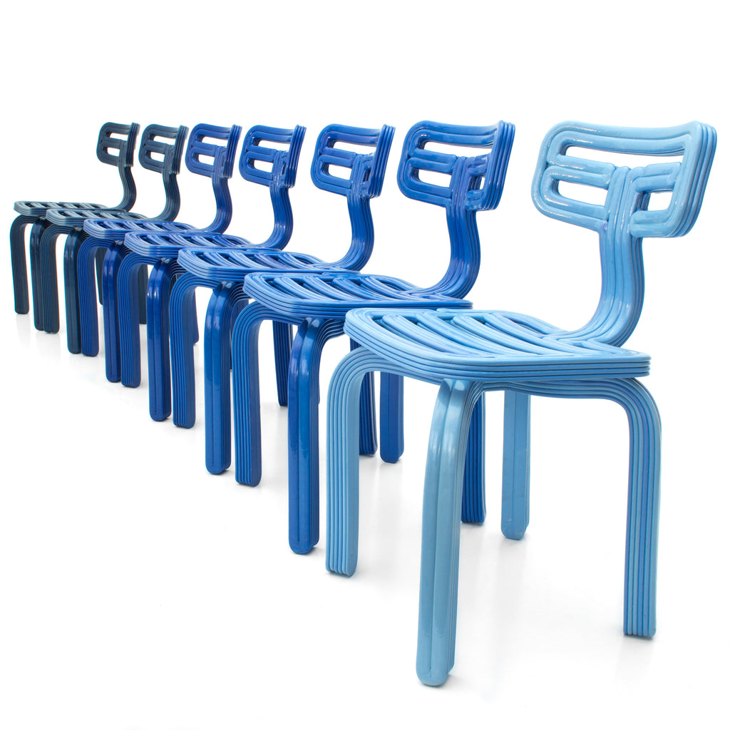 Chubby chairs blue made with a 3D print robot by dirk vander kooij