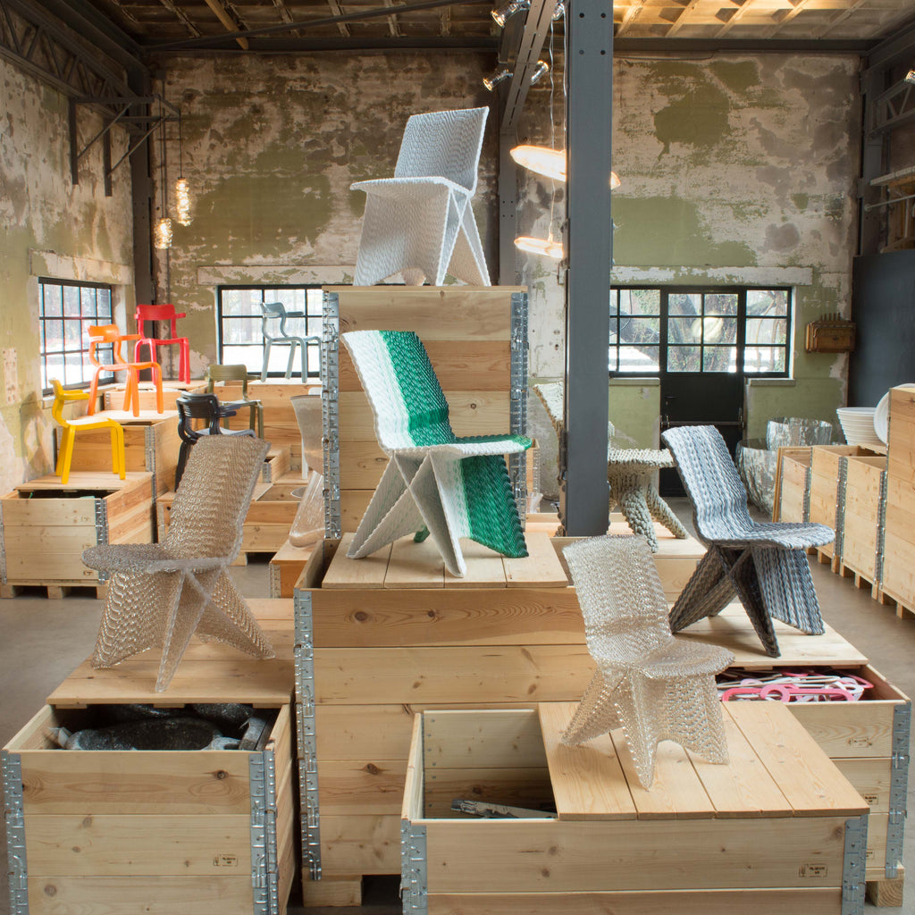 Endless Chairs made out of recycled material with a 3D print robot by dirk vander kooij