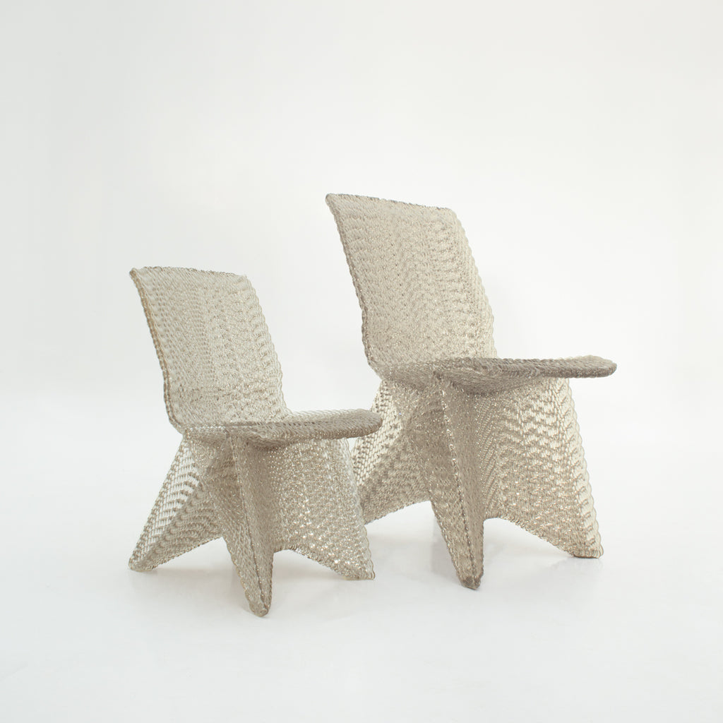 Endless chairs 60 and 80 cm made out of recycled material with a 3d print robot by dirk vander kooij