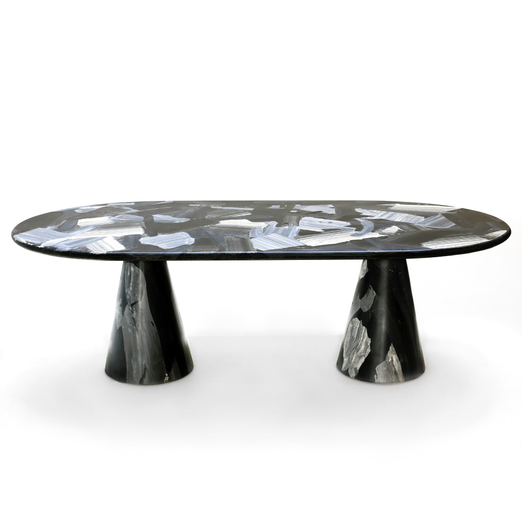 Meltingpot table double base black and ash made out of pressed recycled material by dirk vander kooij