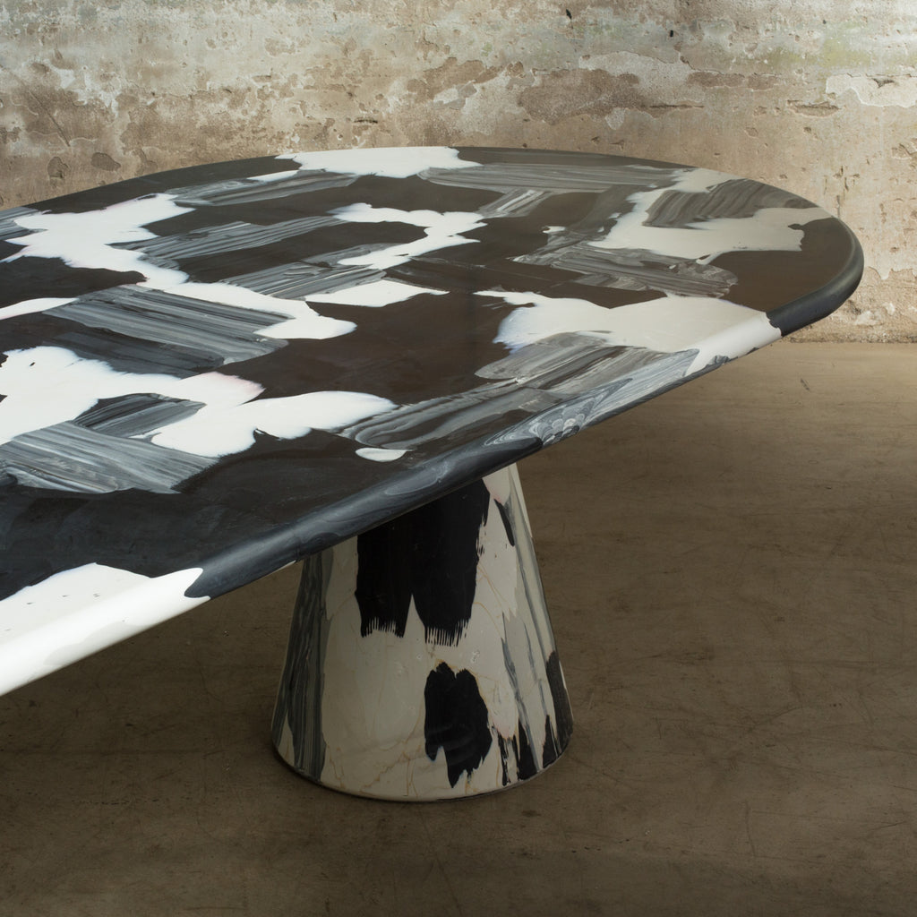Meltingpot table double base black ash and naturel made out of pressed recycled material by dirk vander kooij