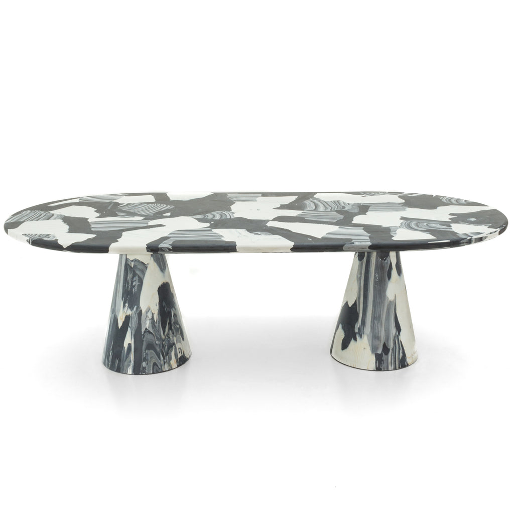 Meltingpot table double base monochrome made out of pressed recycled material by dirk vander kooij