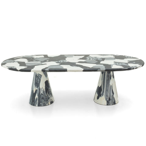 featured - Meltingpot table double base monochrome made out of pressed recycled material by dirk vander kooij