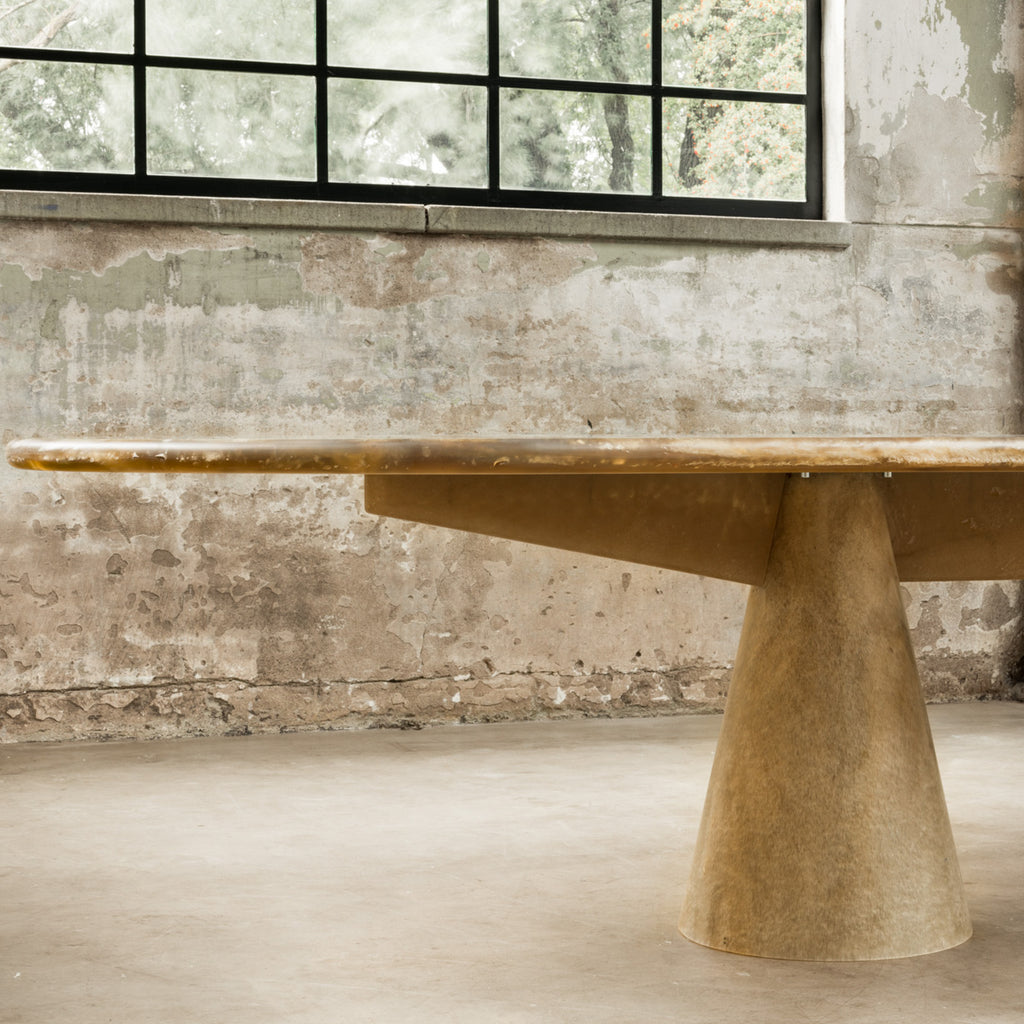 Meltingpot table double base stone gold made out of pressed recycled material by dirk vander kooij