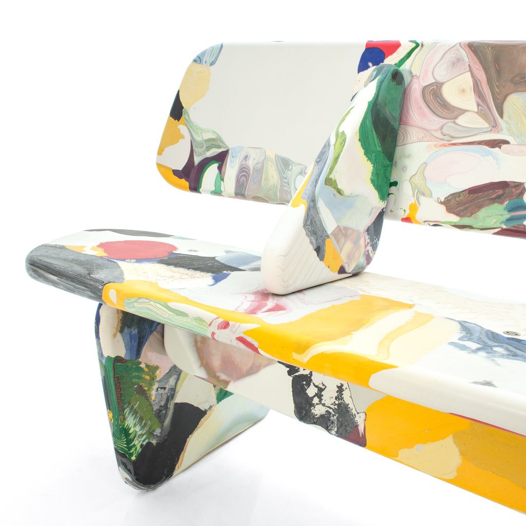 Menhir bench multicolor 240cm with backrest detail made out of recycled pressed material by dirk vander kooij