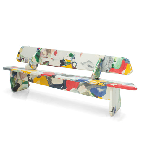 featured - Menhir bench multicolor 240cm with backrest detail made out of recycled pressed material by dirk vander kooij