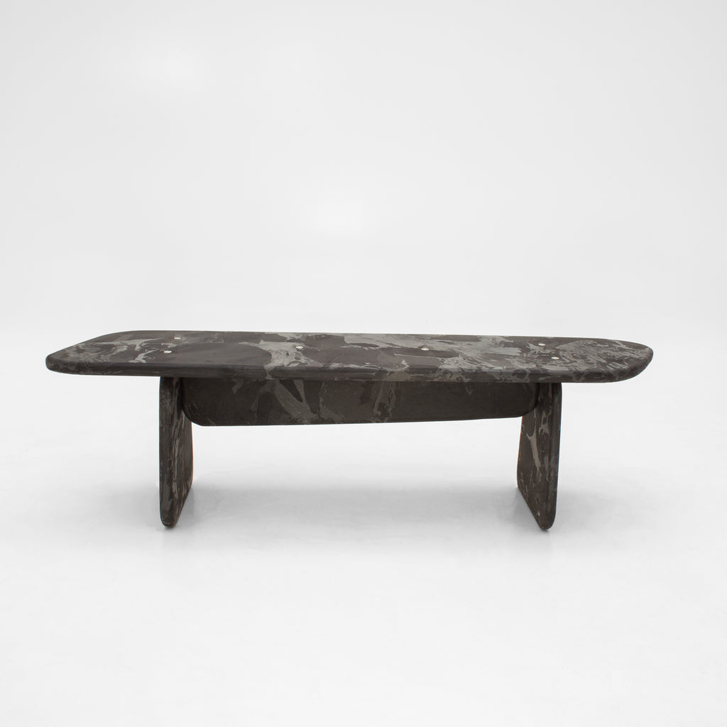 Menhir bench black 160cm made out of recycled pressed material by dirk vander kooij