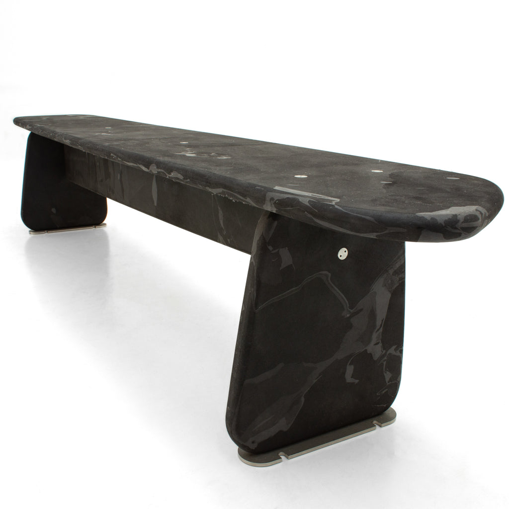 Menhir bench black 240cm made out of recycled pressed material by dirk vander kooij