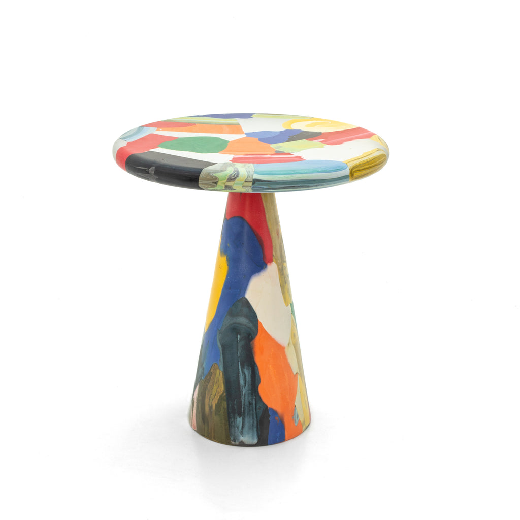 Multicolor side table 40x45 made out of recycled material by dirk vander kooij