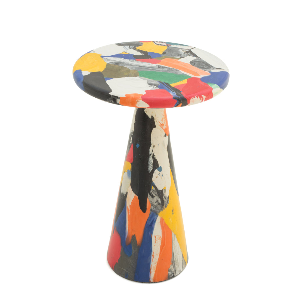 Multicolor side table made out of recycled material by dirk vander kooij