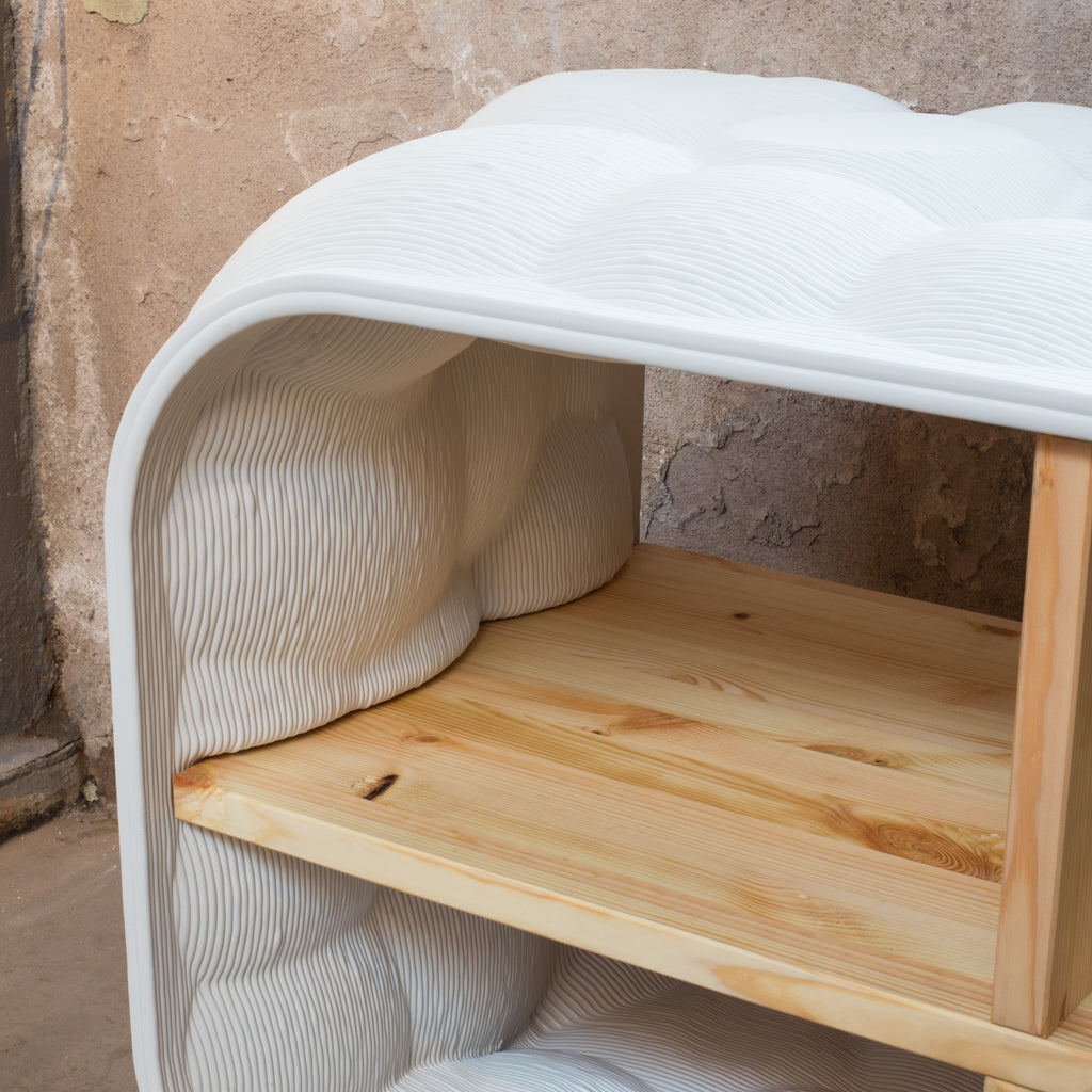 Soap cabinet white made out of recycled material with a 3d printer by dirk vander kooij