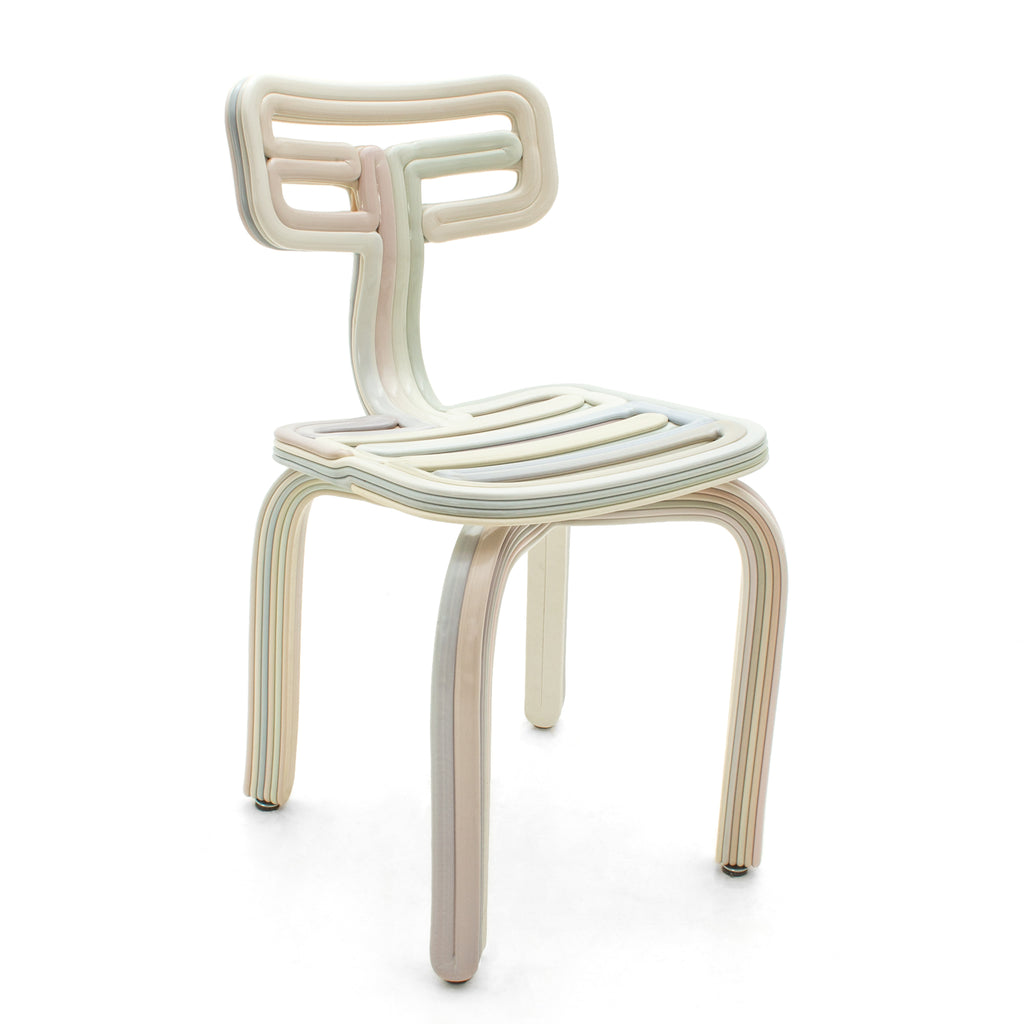 chubby chair pastel made from recycled material with a 3D print robot by dirk vander kooij