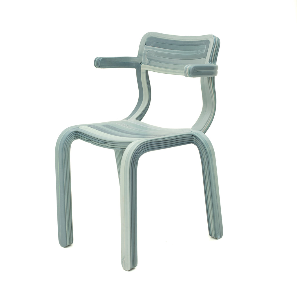 rvr chair light blue made out of recycled material with 3d print robot by dirk vander kooij