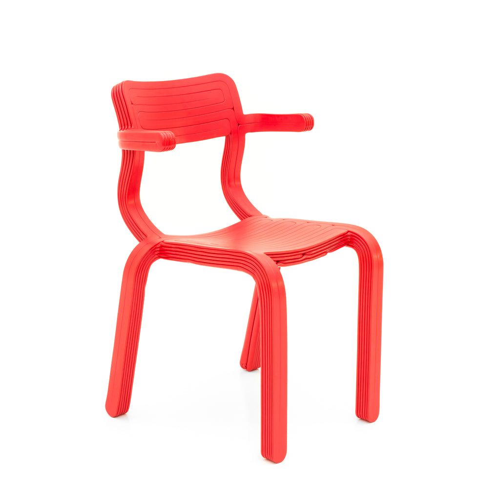 rvr chair red made out of recycled material with 3d print robot by dirk vander kooij