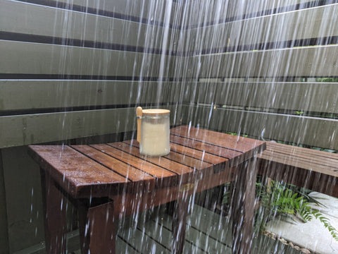 aroma43 Sugar Scrub in our outdoor shower