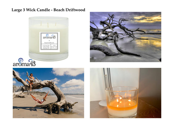 Beach Driftwood Large 3 Wick Candle