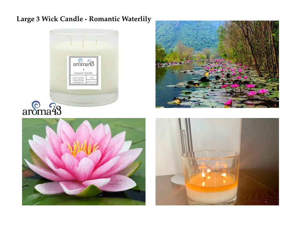 Romantic Waterlily Large 3 Wick Signature Candle