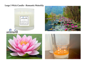 Romantic Waterlily Large 3 Wick Candle