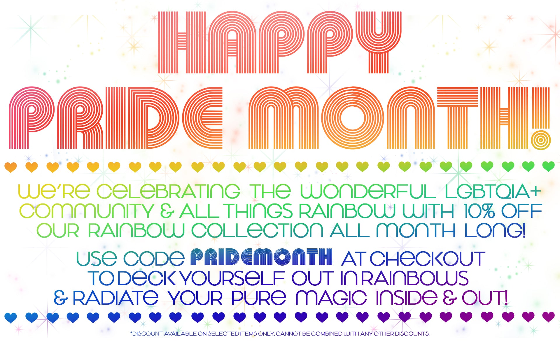 rainbow pride collection 10% off
