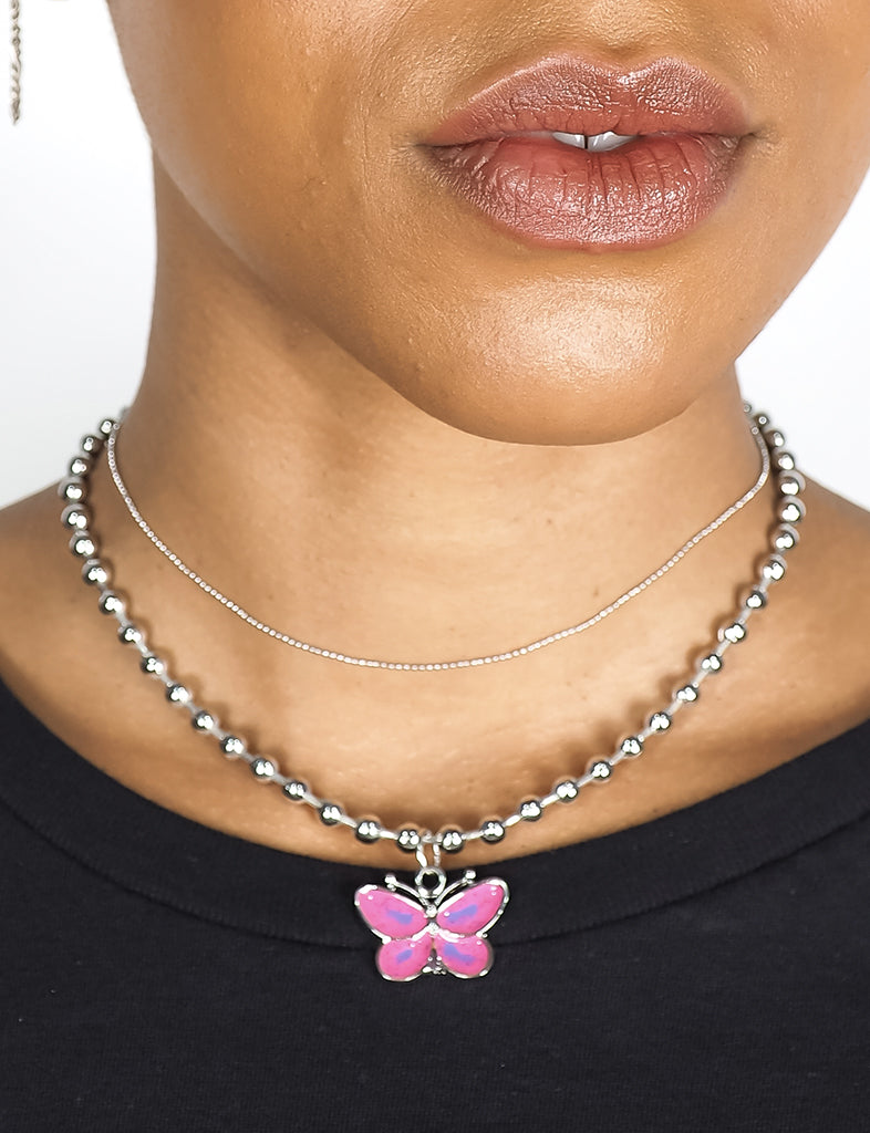 STRAWBERRY KISSES BUTTERFLY NECKLACE