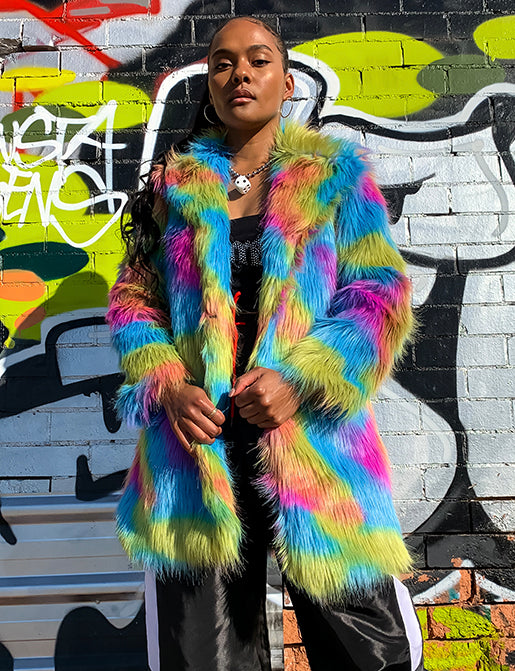 JELLY BEANS FAUX FUR JACKET