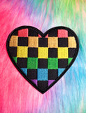 RAINBOW CHECKERED HEART PATCH