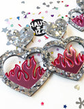 PINK FLAME EARRINGS - LARGE SILVER