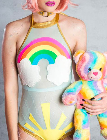 RAINBOW SUNSHINE TWINKLE SHEER MESH BODYSUIT