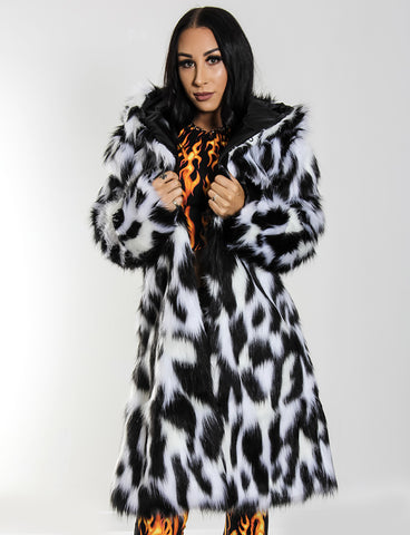 DOOF DADDY FAUX FUR JACKET - MONOCHROME LYNX