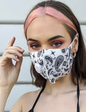 PAISLEY PRINT FACE MASK - WHITE