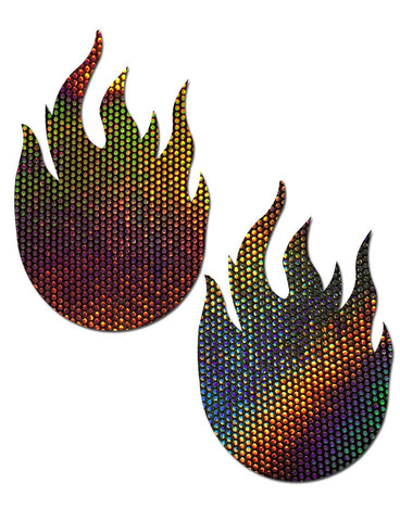 FLAME NIPPLE PASTIES - HOLOGRAM