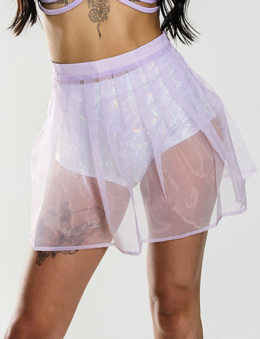 TALLULAH SHEER MINI SKIRT - LAVENDER
