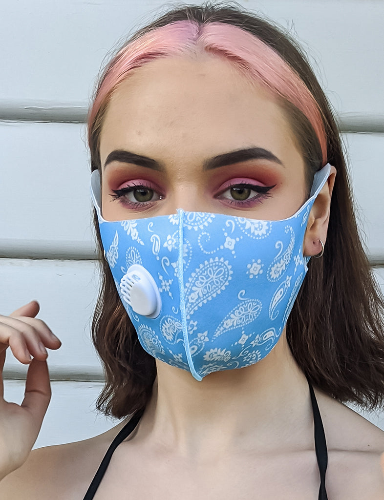 PAISLEY PRINT FACE MASK - BABY BLUE