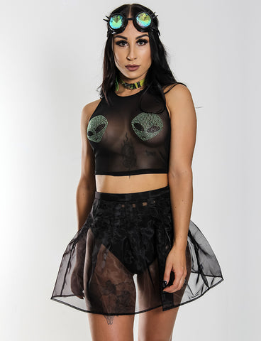 TALLULAH SHEER MINI SKIRT - BLACK